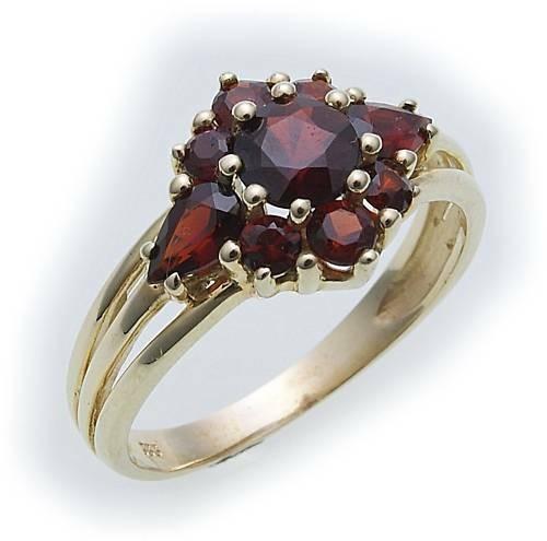 Damen Ring m. Granat in Gold 585 Gelbgold Granatring alle Weiten 8531/5GR