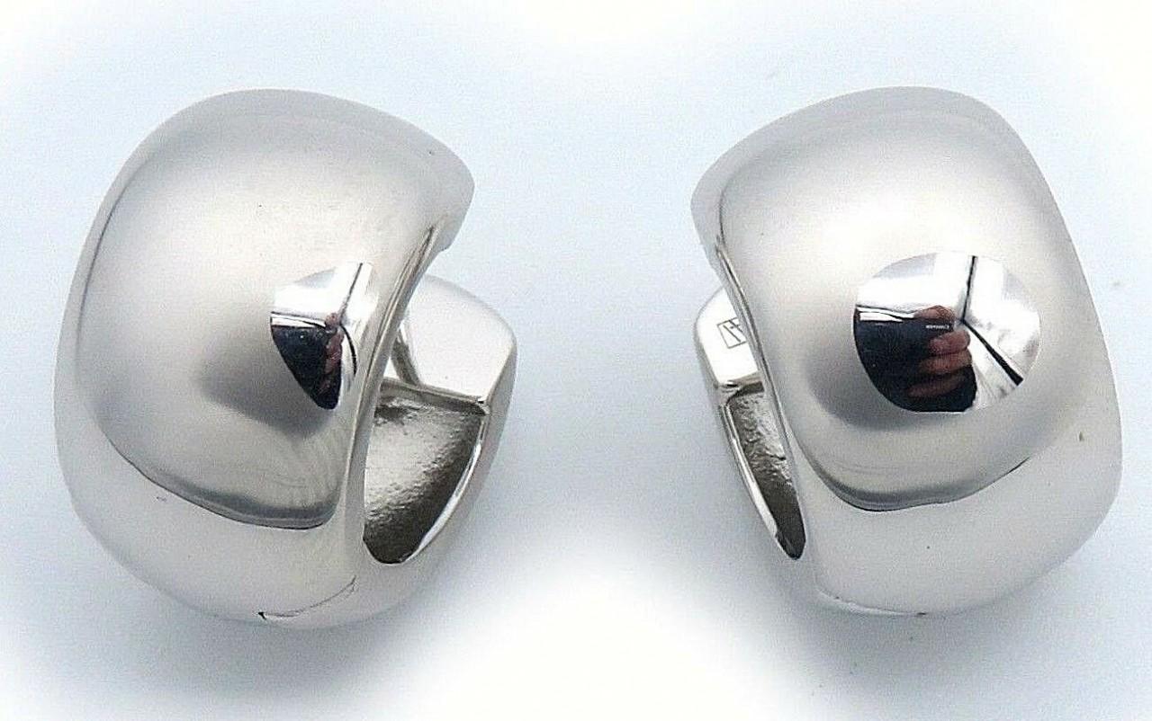 Damen Ohrringe Klapp Creolen echt Silber 925 Sterlingsilber 17 mm Klappcreolen