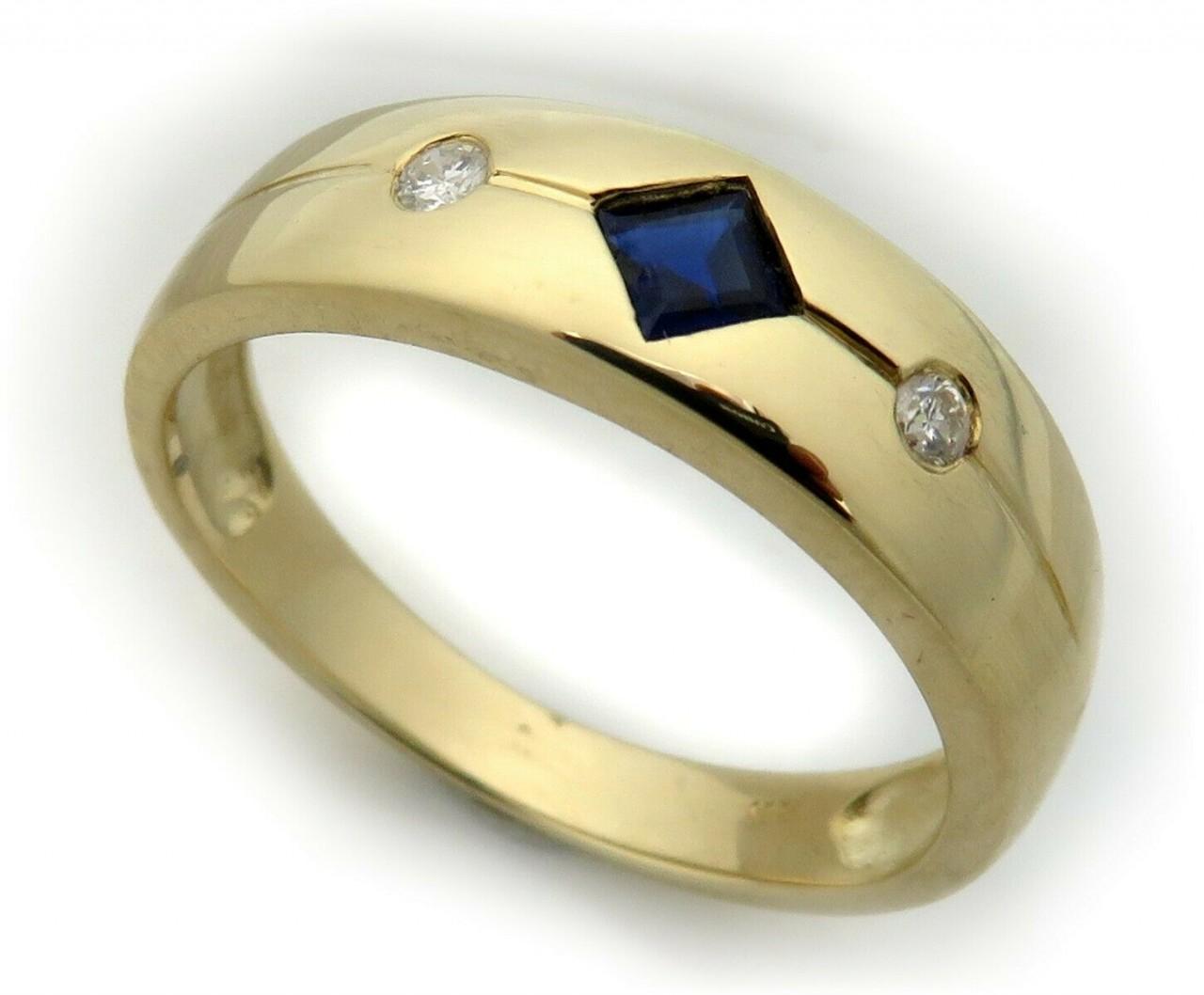 Damen Ring Saphir m. Diamant 0,04ct echt Gold 750 18 karat Gelbgold Brillant Neu