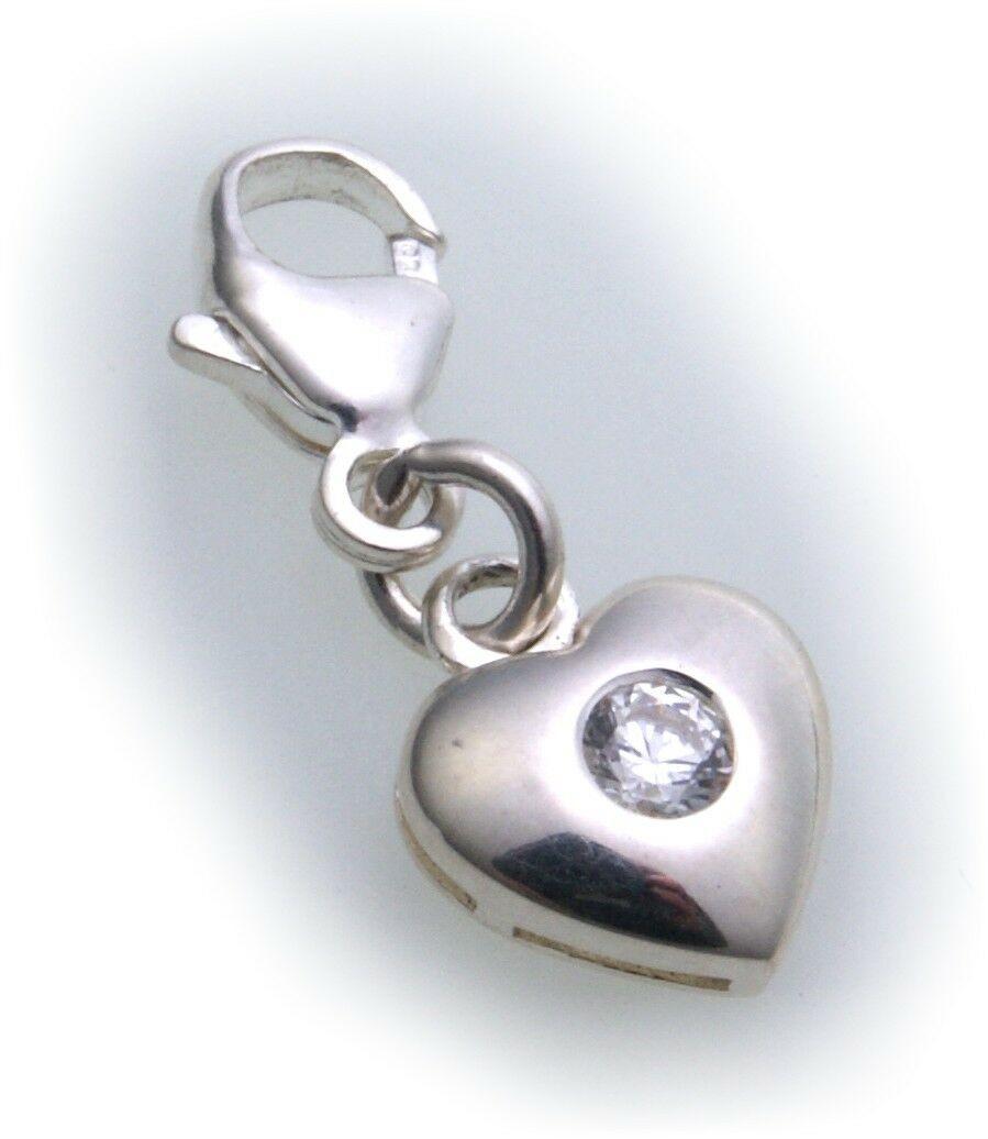 Charm Herz Zirkonia Silber 925 Einhänger Bettelarmband Charms Sterlingsilber