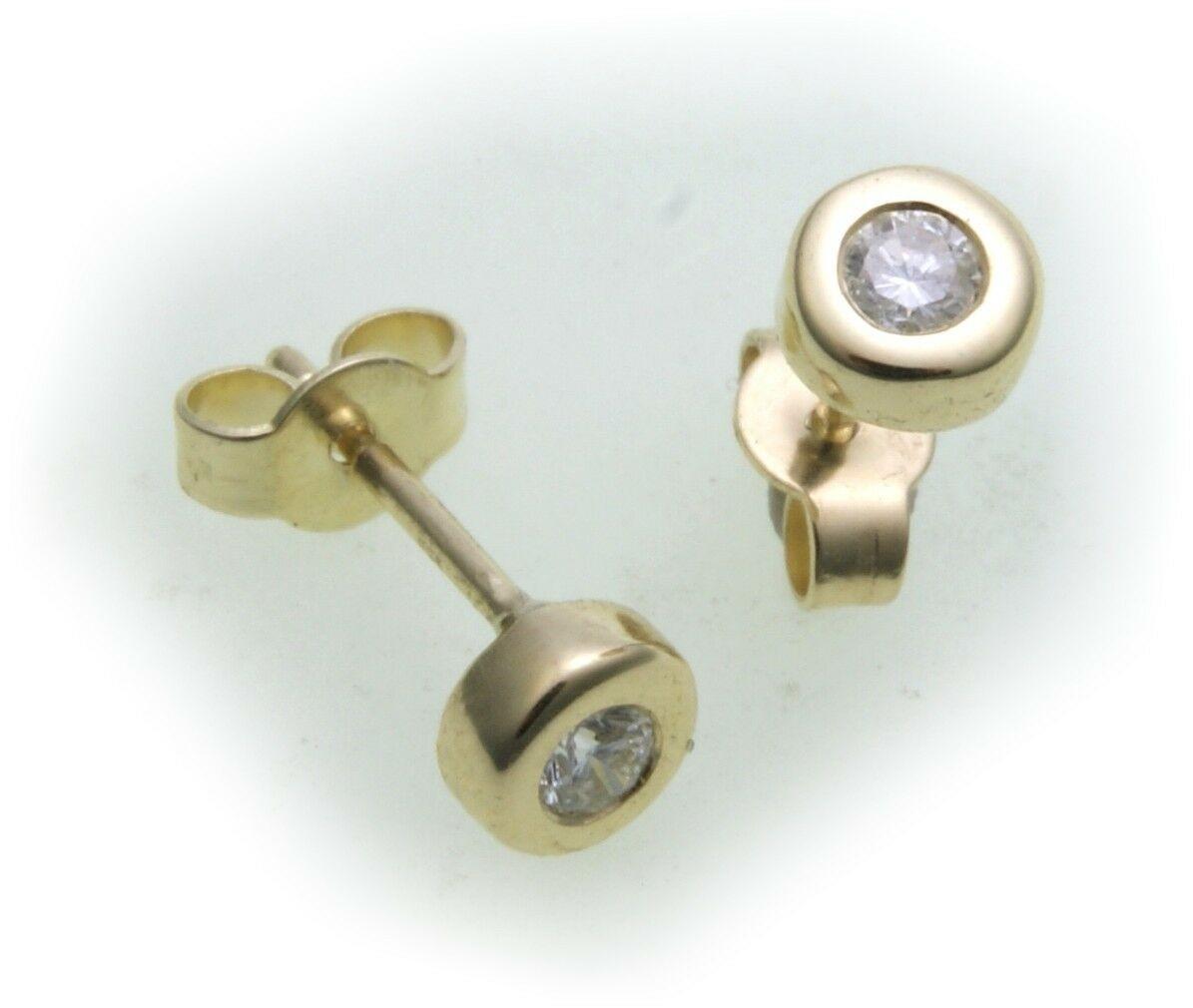 Damen Ohrringe Ohrstecker echt Gold 585 Brillant 0,10 ct 14 kt Gelbgold Diamant