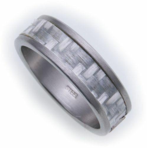 Damenring Ring Edelstahl mit echt Carboneinlage