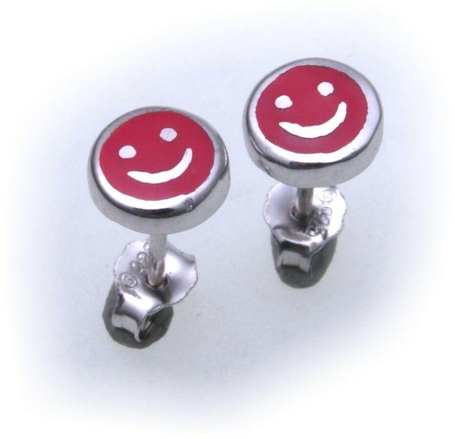 Ohrringe Stecker lachendes Gesicht echt Silber 925 Sterlingsilber massiv rot