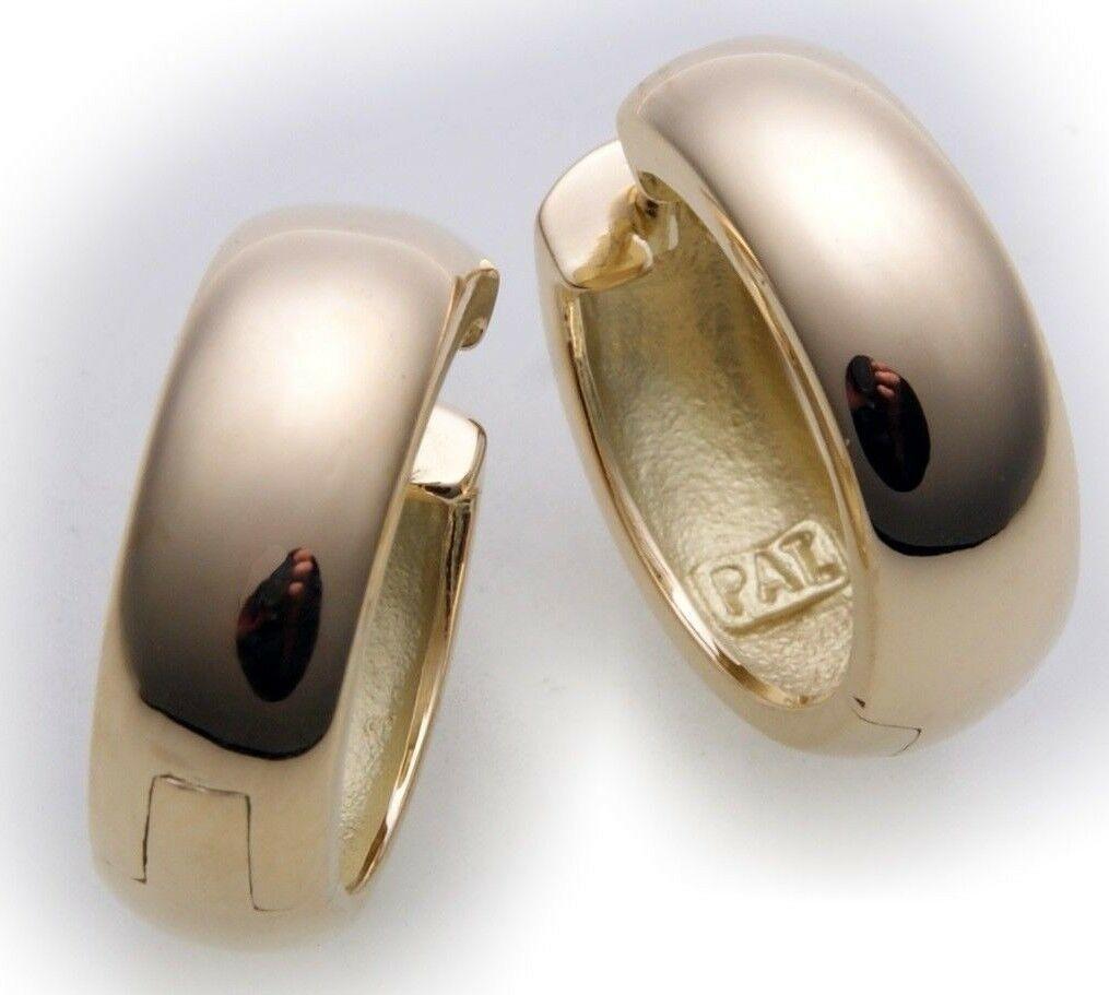 Neu Damen Ohrringe Klapp Creolen Gold 333 gewölbt schwer 16 mm Gelbgold 8 karat