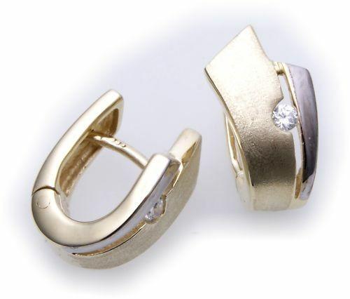 Ohrringe Klapp Creolen echt Gold 333 Zirkonia Damen teilrhod. Gelbgold Qualität