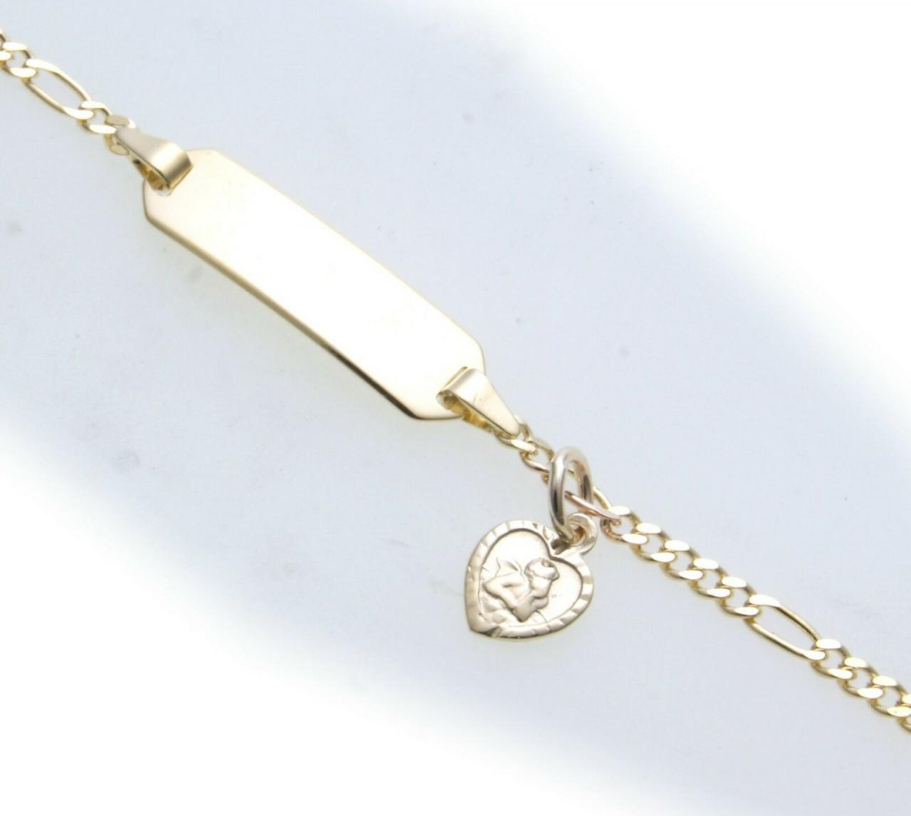Armband Kinder 14 cm echt Gold 333 Schutzengel Schildarmband mit Gravur Gelbgold