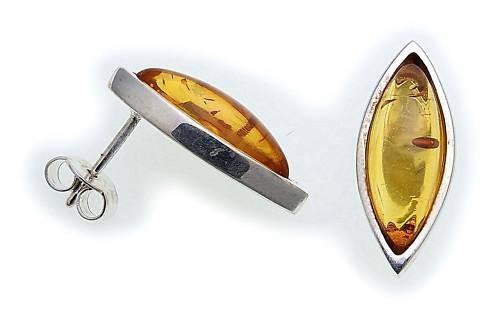 Damen Ohrringe echt Bernstein Ohrstecker Silber 925 Sterlingsilber N6291 BE
