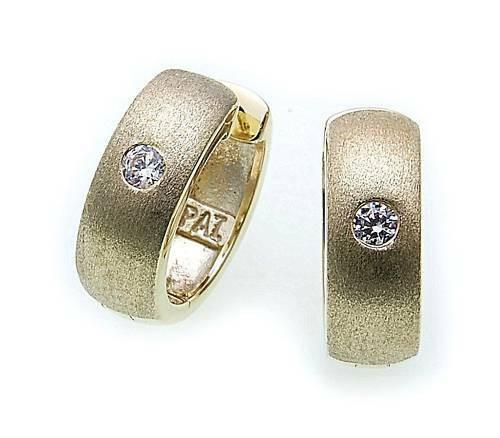 Damen Ohrringe Klapp Creolen Gold 585 mit Zirkonia 14mm Gelbgold