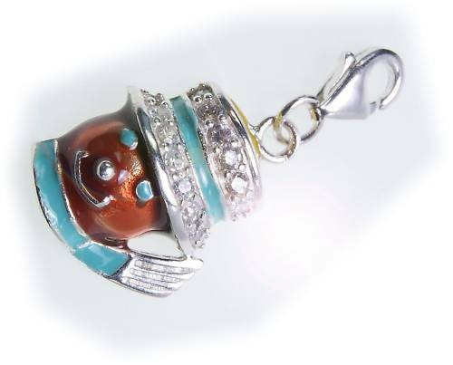 Charm Maske mit Hut-Schal Zirkonia echt Silber 925 Sterlingsilber Qualität