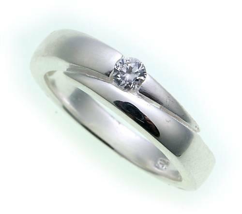 Damen Ring echt Silber 925 mit Zirkonia teilmatt Sterlingsilber