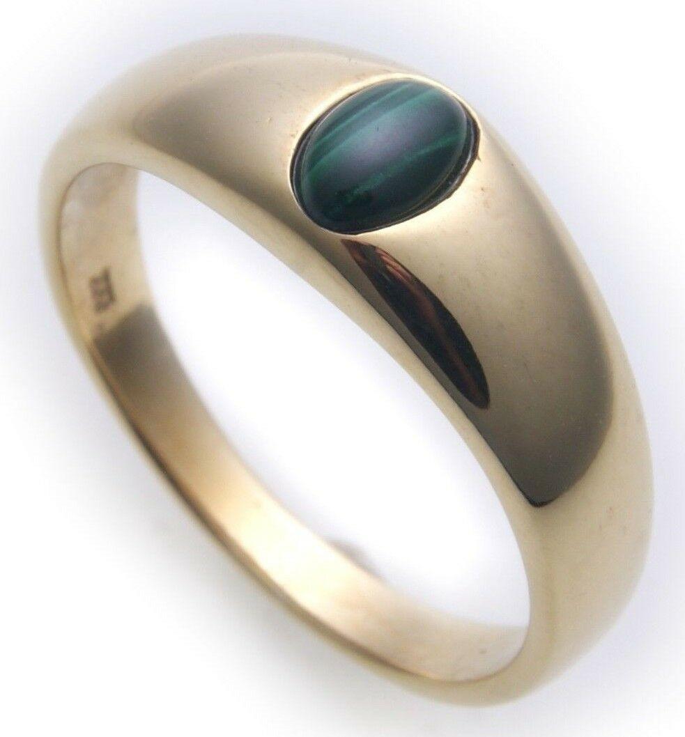 Herren Ring echt Gold 585 echt Malachit grün 14 karat Gelbgold Qualität Neu Top