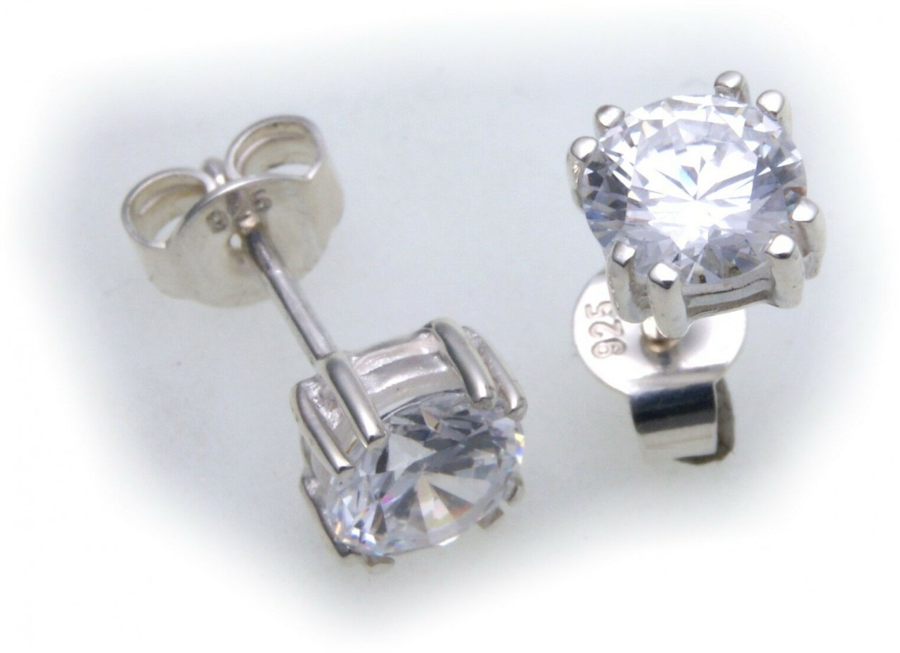 Ohrringe Stecker rund 7 mm Zirkonia echt Silber 925 Ohrstecker Sterlingsilber