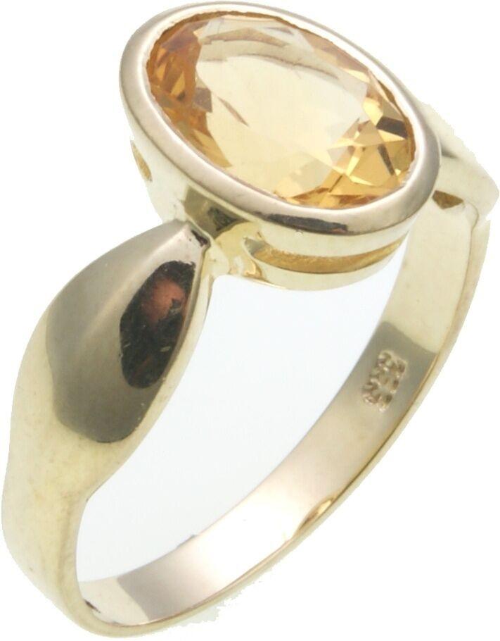 Damen Ring echter Citrin 10 x 7 mm Gold 585 Gelbgold gute Qualität