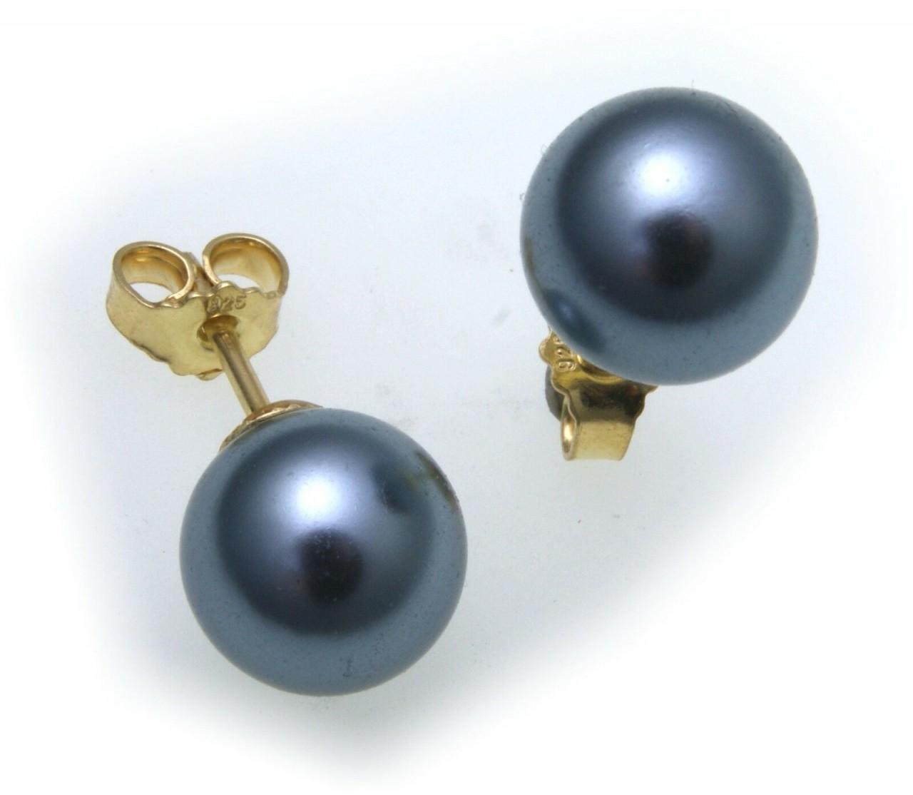 Ohrringe Stecker Muschelkernperlen grau Silber 925 Ohrstecker Sterlingsilber