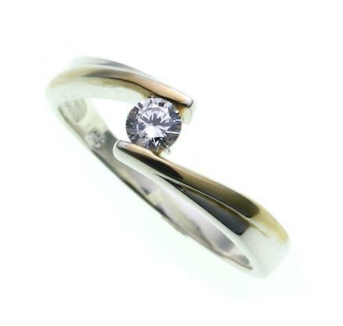 Damen Ring echt Silber 925 mit 1 Zirkonia teilvergold. Sterlingsilber Qualität
