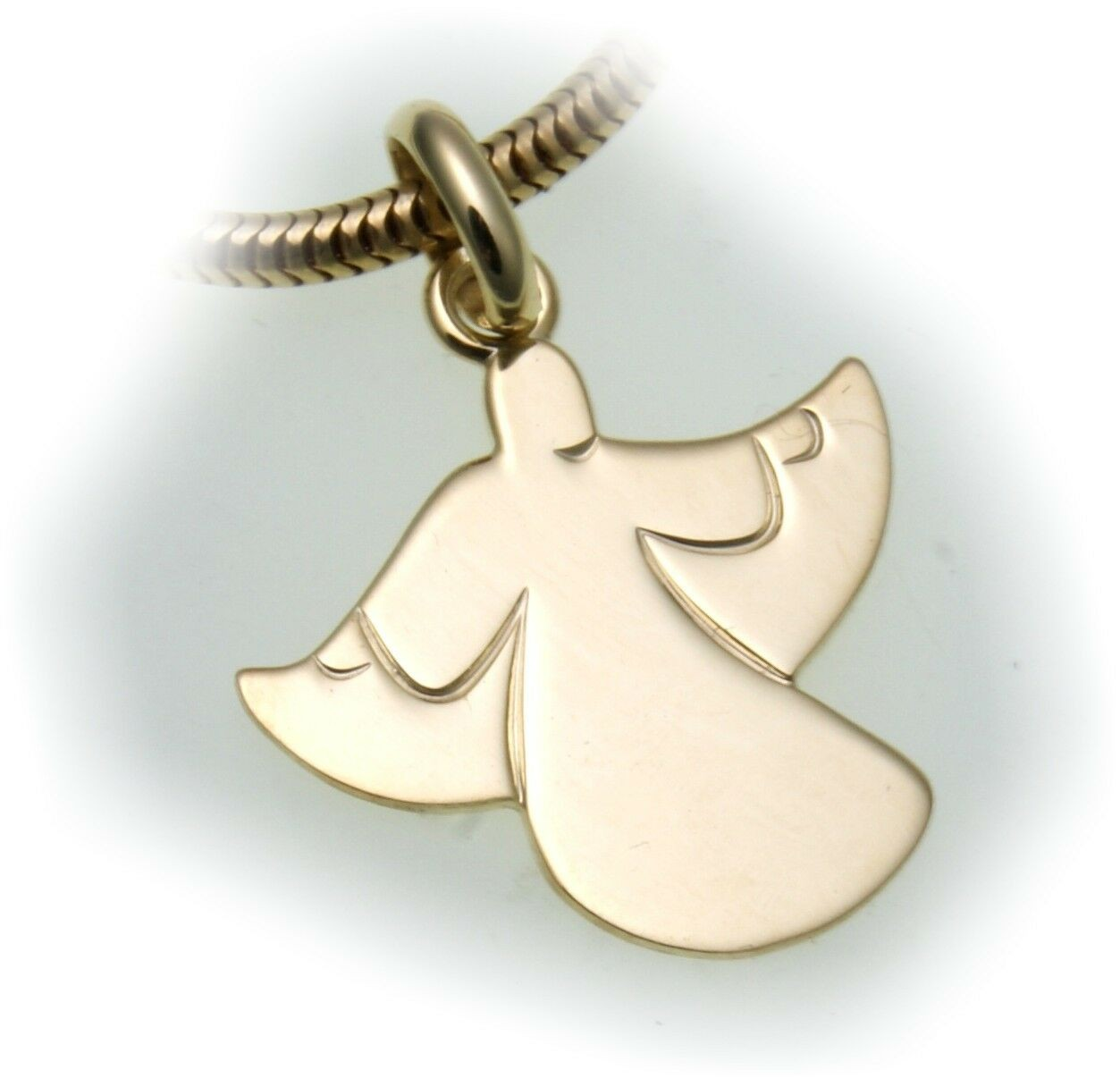 Neu Damen Anhänger Engel echt Gold 585 Gelbgold 14kt Schutzengel Gravur möglich