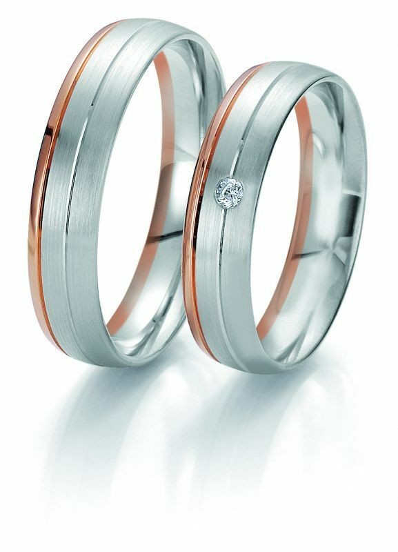 Trauringe Breuning Rainbow Collection 6203/6204 in 585 Gold weiß rot 14 kt
