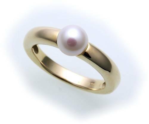 Damen Ring echt Gold 585 Perle 6,5 mm Glanz Gelbgold Zuchtperle Qualität Perlen