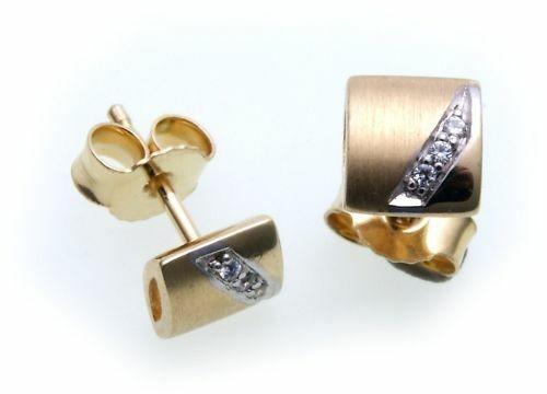 Damen Ohrringe Ohrstecker Gold 585 Zirkonia weiß mattiert teilrhod Gelbgold