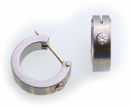 Ohrringe Creolen Edelstahl Gold Zirk Damen Herren 14mm