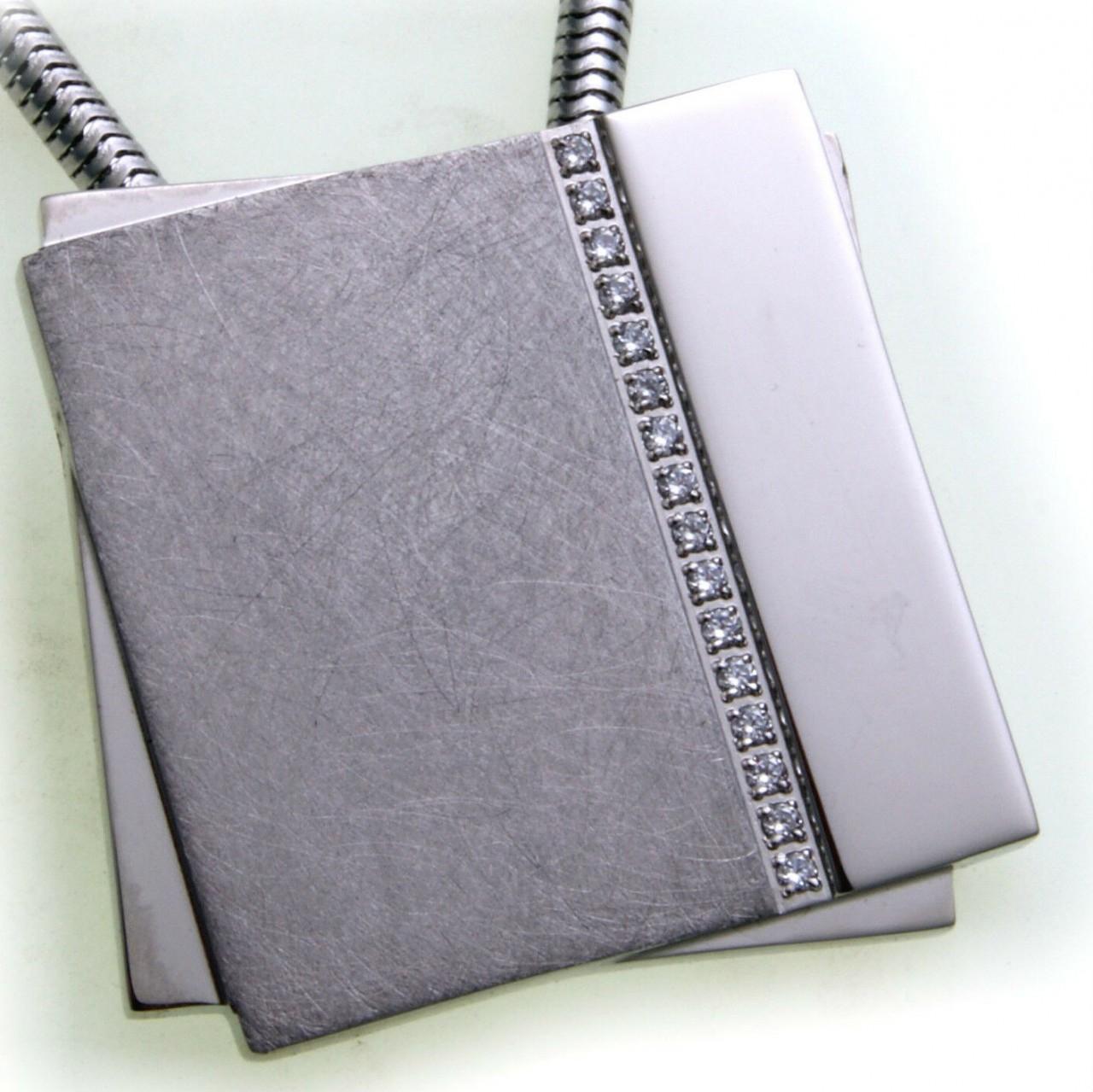 Anhänger Viereck Edelstahl teilmatt Zirkonia Hardwear by Landmesser Qualität
