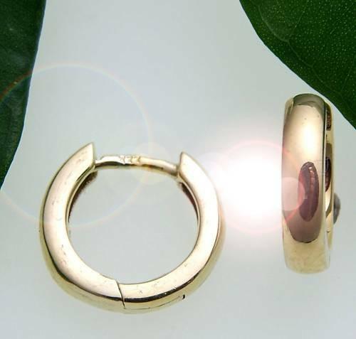 Damen Ohrringe Klapp Creolen Gold 333 gewölbt schwer 12 mm Gelbgold Qualität