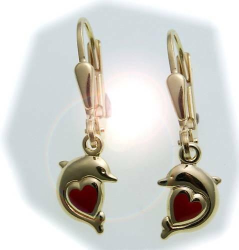 Kinder Ohrringe Ohrhänger Delfin mit Herz 333 Gold Gelbgold Qualität