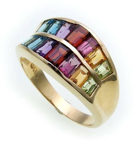Damen Ring echte Edelsteine farb Gold 585 Regenbogen Gelbgold Edlestein SK8208