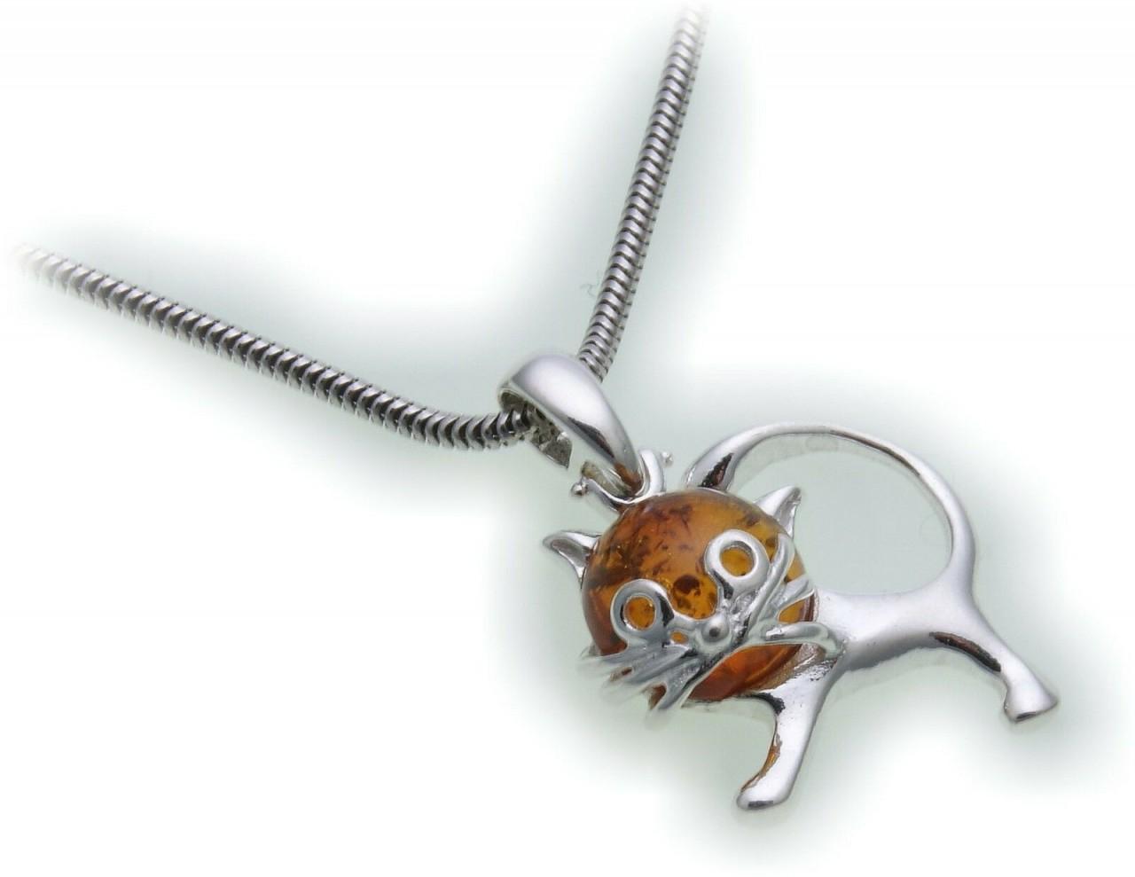 Anhänger echt Bernstein Katze echt Silber 925 Sterlingsilber Unisex Kätzchen Neu