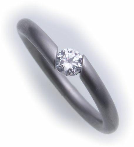 Damenring Ring Edelstahl m Zirkonia Spannringoptik matt Diamant Neu D1016 ZI