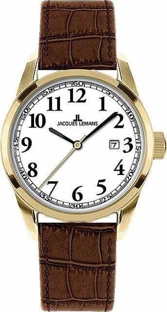 Jacques Lemans Sports Liverpool Uhr Damen 1-1445 C Edelstahl vergoldet Datumsan