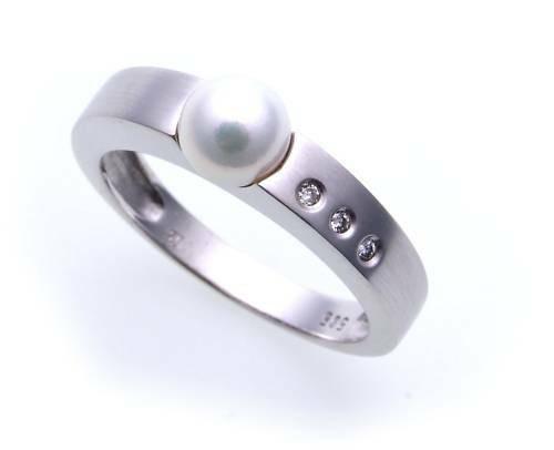 Damen Ring echt Gold 585 Perle 6 mm Brillant 0,03 matt Gelbgold Diamant