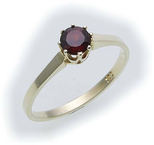 Damen Ring m. Granat in Gold 585 Gelbgold Granatring alle Weiten 8969/5GR