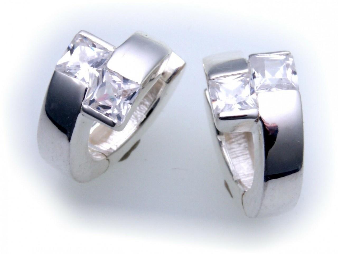 exkl. Ohrringe Creolen echt Silber 925 mit Zirkonia Qualität Sterlingsilber