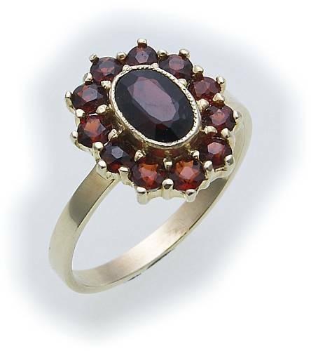 Damen Ring m. Granat in Gold 585 Gelbgold Granatring alle Weiten 8915/5GR