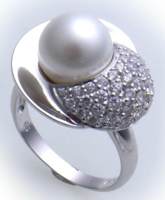 Damen Ring echt Silber 925 Zirkonia Sterlingsilber Perlen Qualität rhodiniert