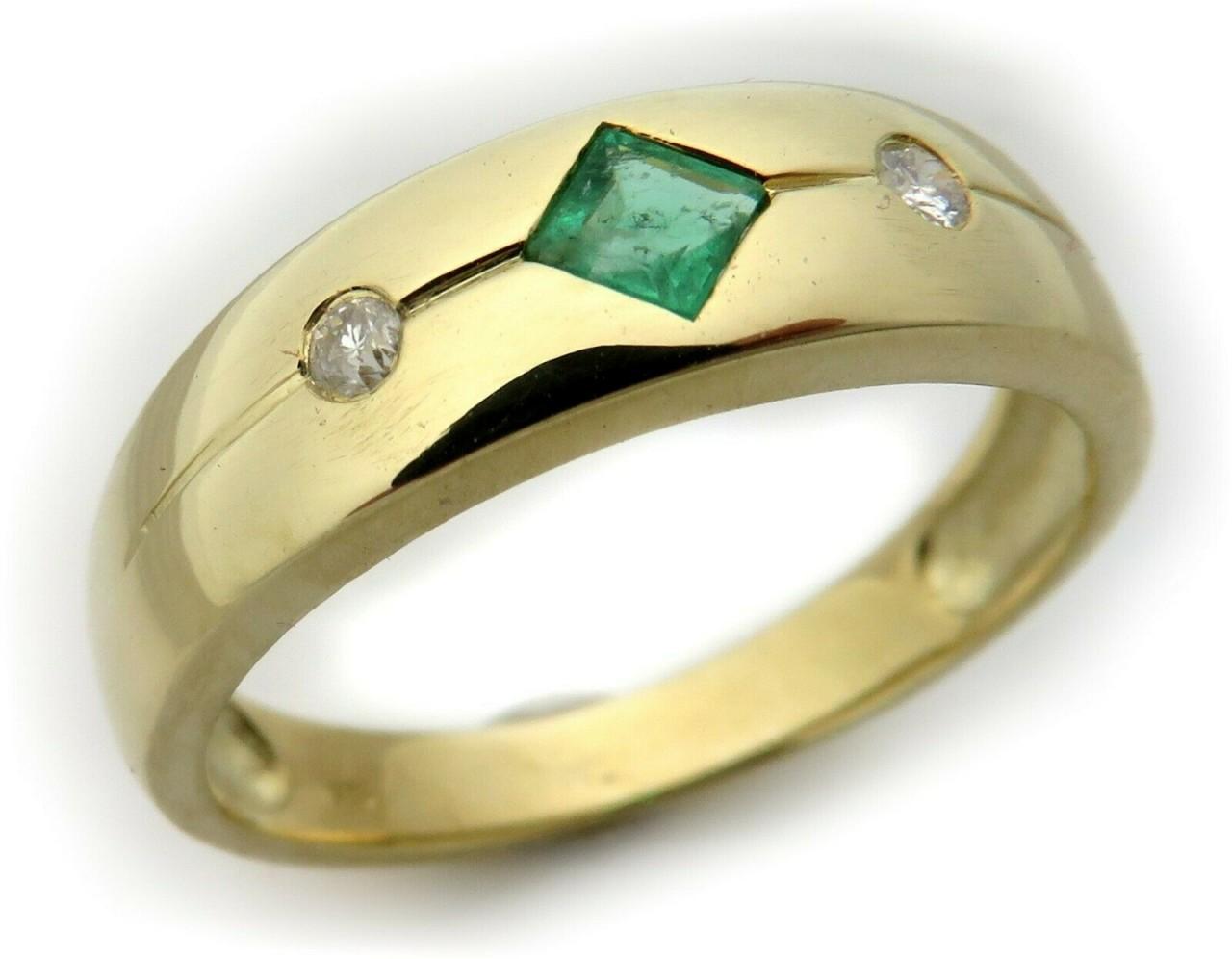 Damen Ring Smaragd m Diamant 0,04ct echt Gold 750 18 karat Gelbgold Brillant Neu
