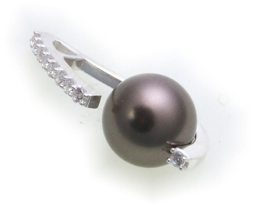 Damen Anhänger in Silber 925 Sterlingsilber mit Zirkonia und Perlen grau Perle
