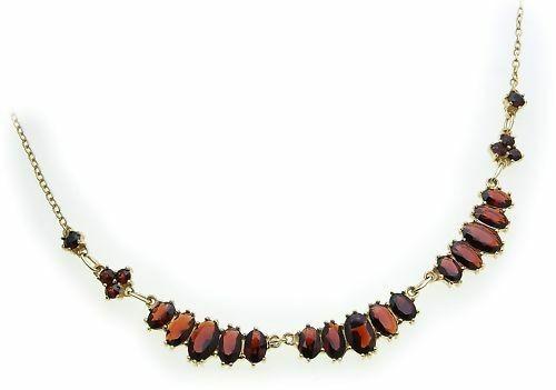 Collier m. Granat echt Gold 333 Halsschmuck Gelbgold Halskette Damen 4918/3GR