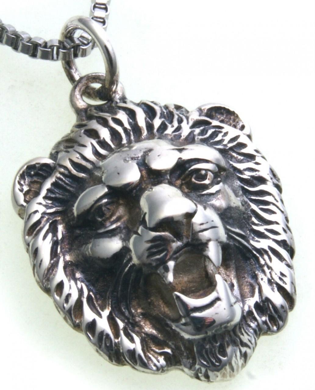 Anhänger Löwe Kopf echt Silber 925 Sterlingsilber Unisex Raubkatze Löwenkopf