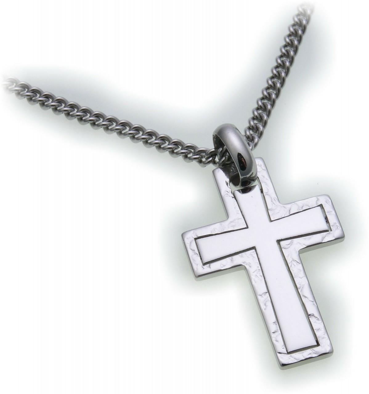Anhänger Kreuz aus Edelstahl poliert mit Muster