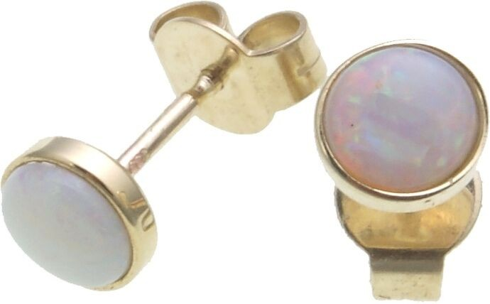 Damen Ohrringe echt Opal Gold 333 Stecker Ohrstecker Gelbgold Qualität