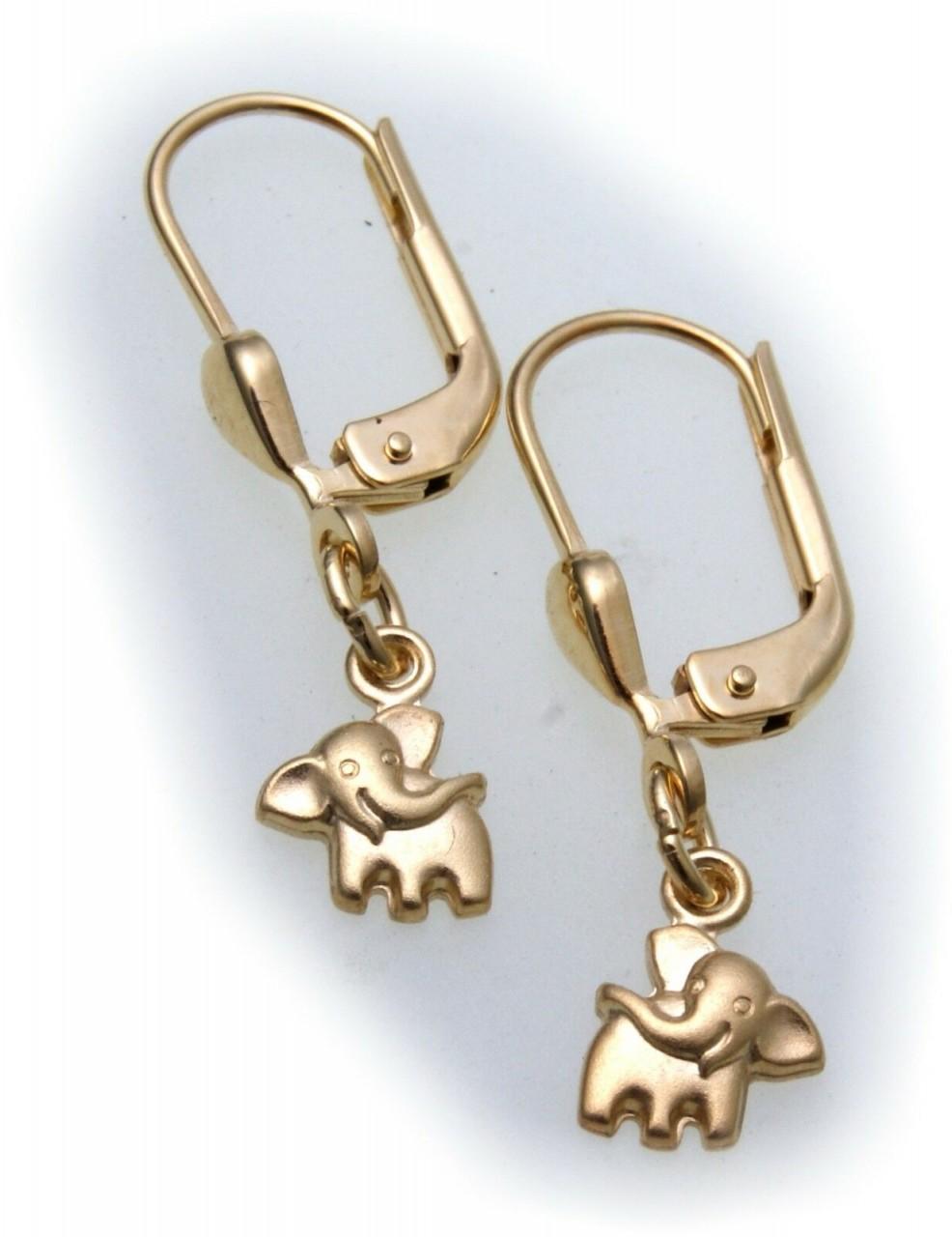 Ohrringe Ohrhänger Elefanten Gold 585 Kinder massiv 14kt Elefant Gelbgold Hänger