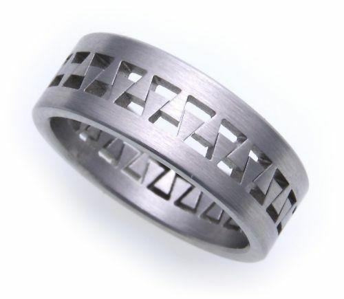 Damenring Ring in Edelstahl mattiert beweglich eingehängt D1027