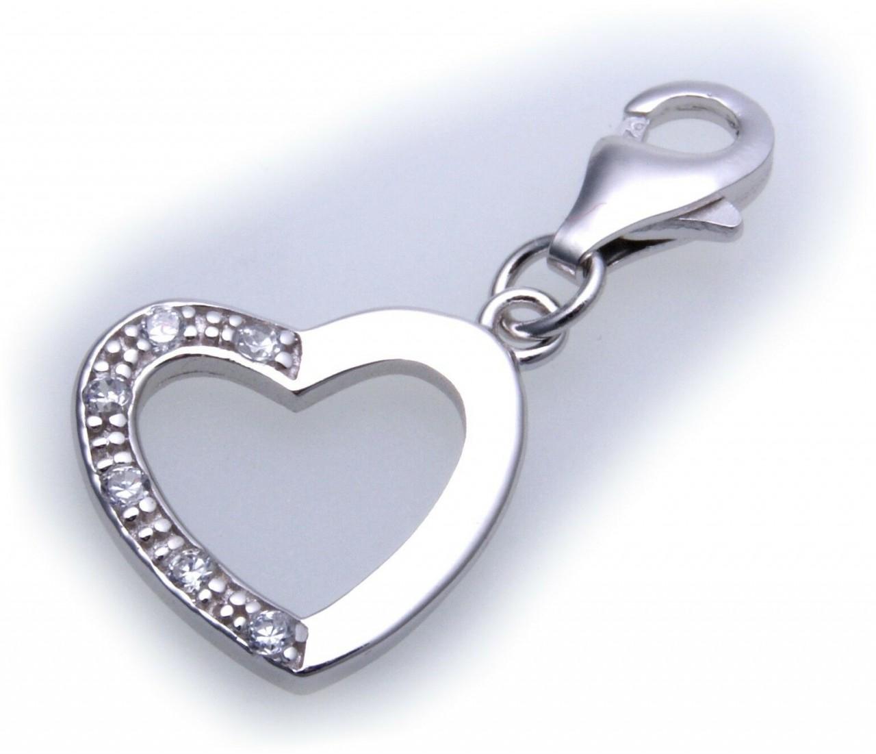 Charm Herz Zirkonia echt Silber 925 Einhänger Charms Sterlingsilber Qualität