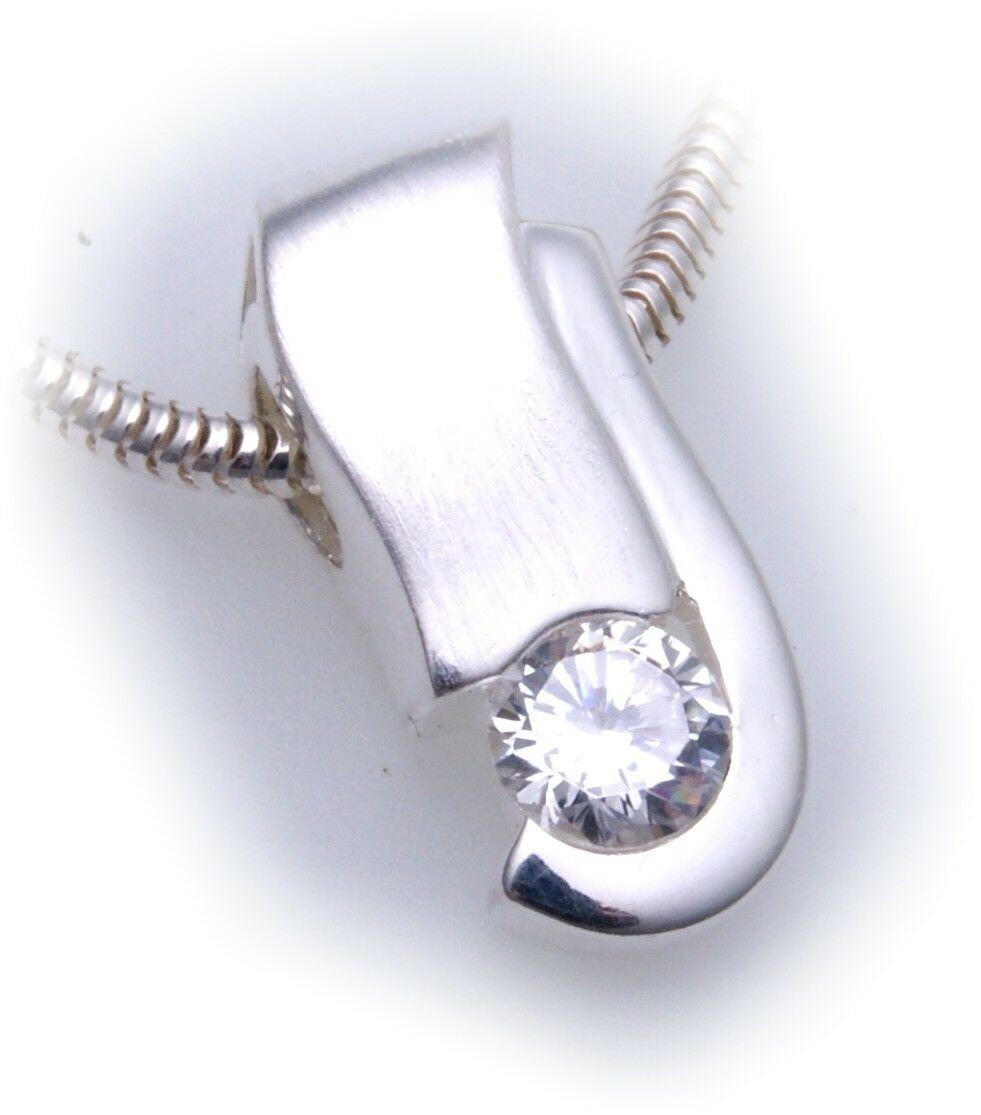 exkl. Damen Anhänger echt Silber 925 Zirkonia teilmatt Qualität Sterlingsilber