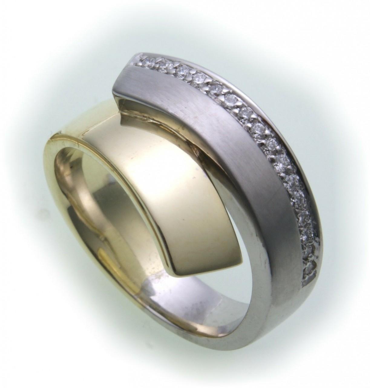 Damen Ring Brillant 0,16 carat w/si echt Gold 750 18kt 0,16 ct Gelbgold Diamant