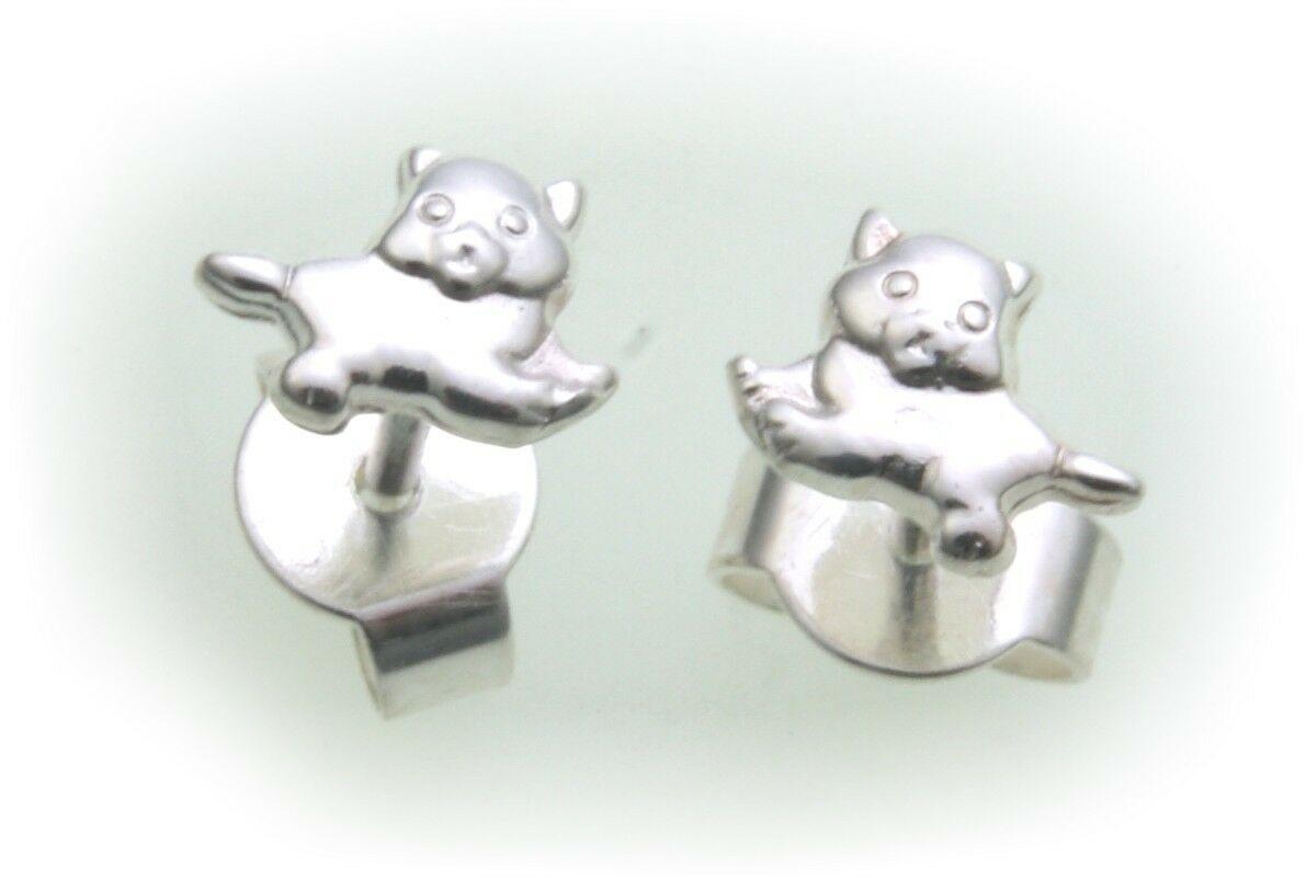 Kinder Ohrringe Stecker Katze echt Silber 925 Sterlingsilber Katzen Ohrstecker
