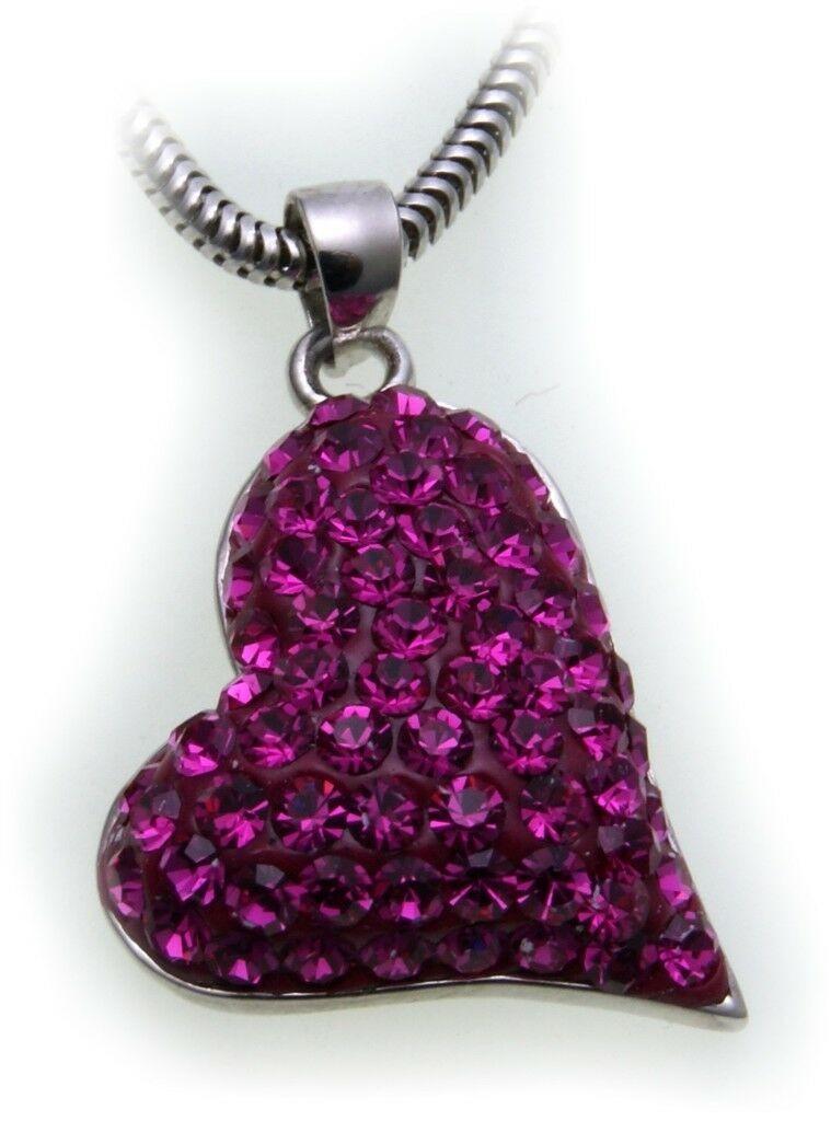 edler Anhänger echt Silber 925 Herz mit Kristall pink Sterlingsilber Qualität