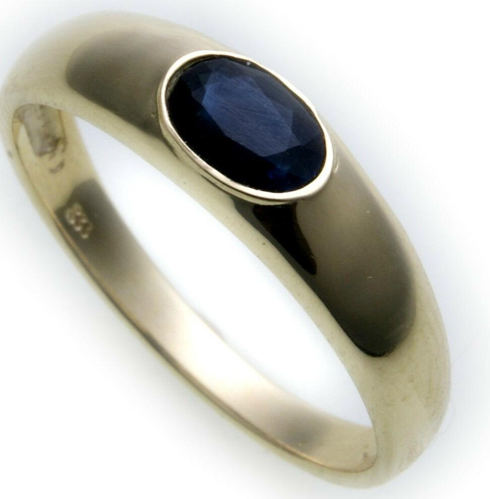 Bestpreis Damen Ring echt Gold 333 Safir 8kt Qualität Saphir Gelbgold Blau Neu